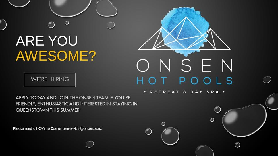 Onsen Hot Pools are looking for Customer Service Superstars!